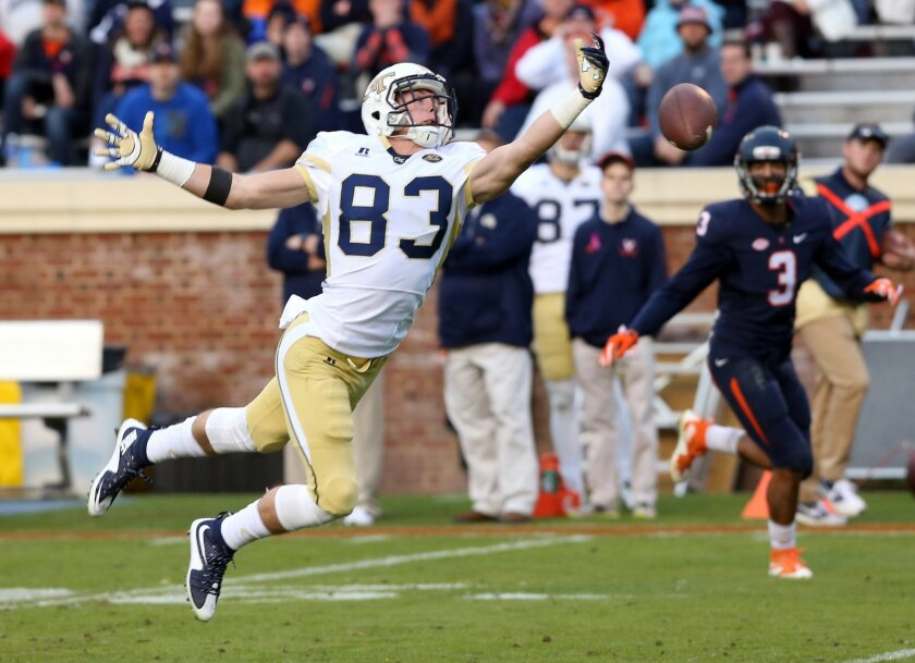 Georgia Tech wide receiver Brad Stewart (83) misses a potential touchdown catch next to Virginia safety Quin Blanding (3) during the second half of an ACC college football game at Scott Stadium, Saturday, Oct. 31, 2015, in Charlottesville, Va. (AP Photo/Andrew Shurtleff)