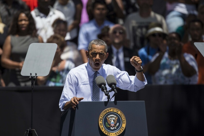 President Obama speaks Thursday at Los Angeles Trade-Technical College on the second day of a campaign swing in the city.