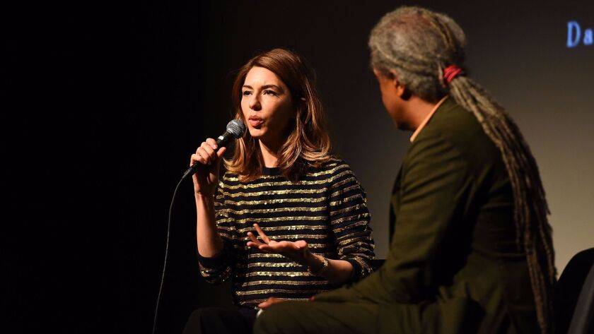 """Sofia Coppola and Elvis Mitchell discuss her career and """"The Beguiled"""" at the 2017 Los Angeles Film Festival at LACMA on June 15."""