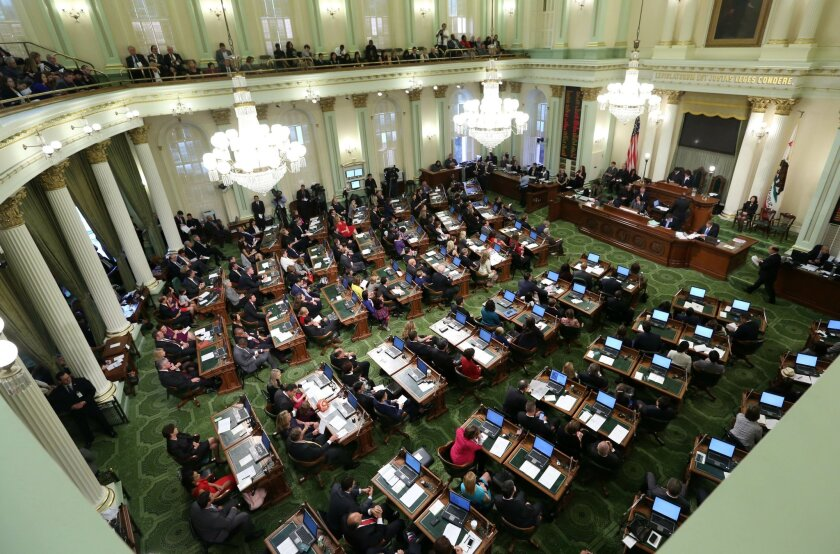 FILE - In this Monday Dec. 1, 2014 file photo, the California State Assembly meets for an organizational session where lawmakers took the oath of office at the Capitol in Sacramento, Calif.
