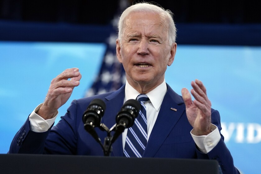President Biden speaks during an event at the White House complex on Monday.