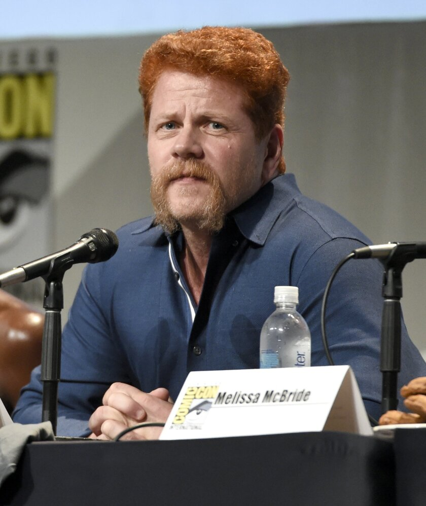 "FILE - In this July 10, 2015 file photo, Michael Cudlitz attends ""The Walking Dead"" panel on day 2 of Comic-Con International in San Diego, Calif. Cudlitz's character Abraham Ford is known for his bright red hair and that distinctive handlebar mustache.  In fact, the actor said his facial hair has"