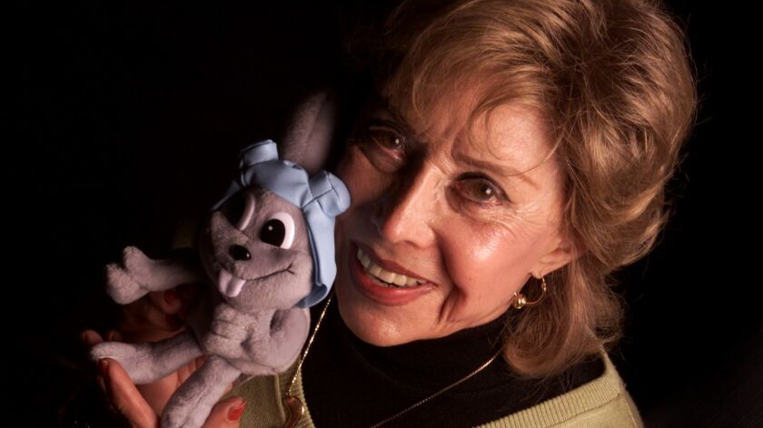 """June Foray, seen in 2000, when she reprised the role of Rocky the flying squirrel in a new """"Rocky and Bullwinkle"""" film."""