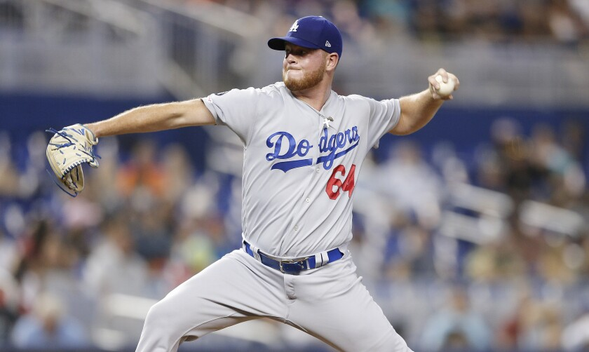 Dodgers reliever Caleb Ferguson pitches Miami Marlins on Aug. 15.