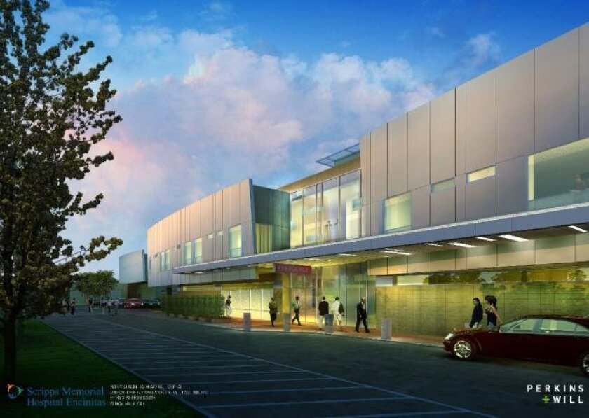 An artist's rendering of a planned expansion of Scripps Memorial Hospital Encinitas.