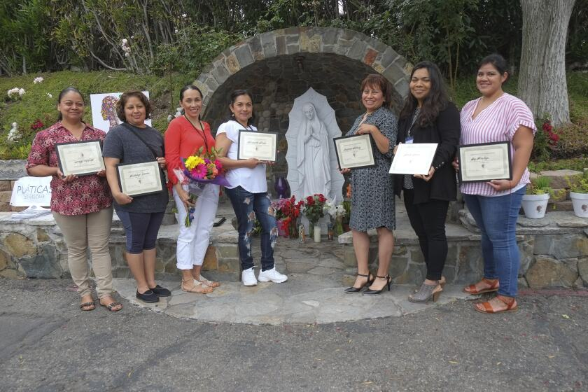 A group of mothers received certificates after graduating from a 32-week program designed to strengthen the participants and their families. The 10 participants, residents of the Eden Gardens neighborhood of Solana Beach, gathered weekly for Pláticas de Mejorar — Self-Improvement Conversations. Led by Monica Stapleton, a bilingual therapist, the free sessions covered the immigrant experience, family development and raising children. Participants learned about technology and social media, positive self-talk, self-care and how to relax. The sessions were held at St. James and St. Leo Mission churches in Solana Beach and made possible through a partnership with Manny and Maryann Aguilar of La Colonia de Eden Gardens, Inc. Pictured are some of the participants. Visit platicasdemejorar.org and LCEG.org.