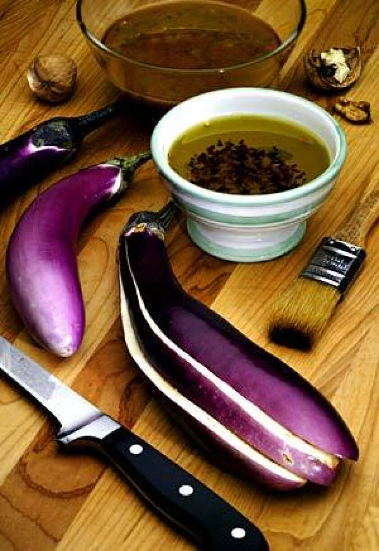 Recipe: Grilled eggplant with walnut-cilantro pesto.