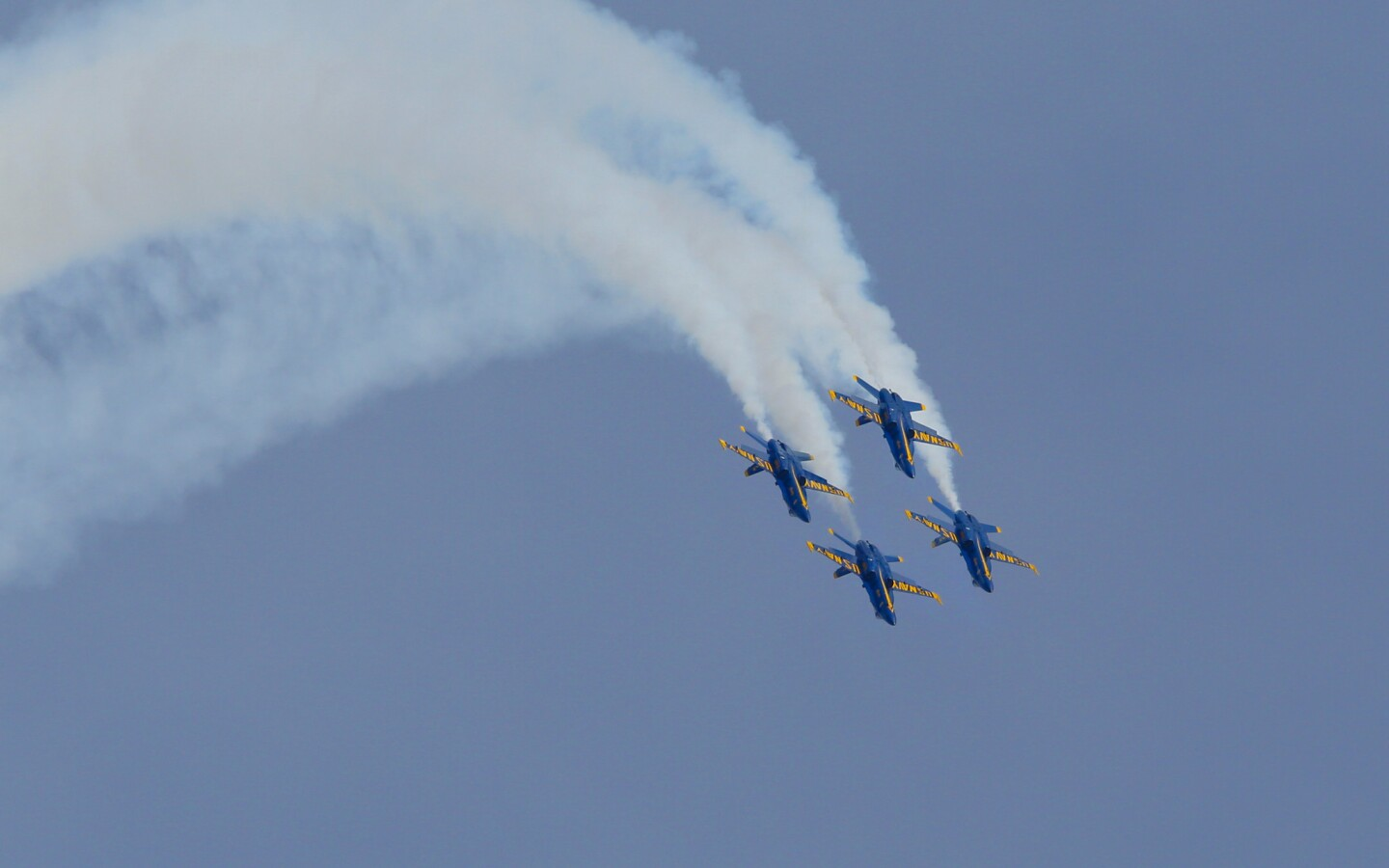 The U.S. Navy's Blue Angels during their performance demonstration at Miramar Air Show 2018.