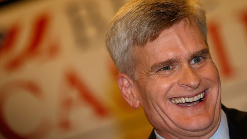 U.S. Sen.-elect Bill Cassidy celebrates in Baton Rouge after his victory.
