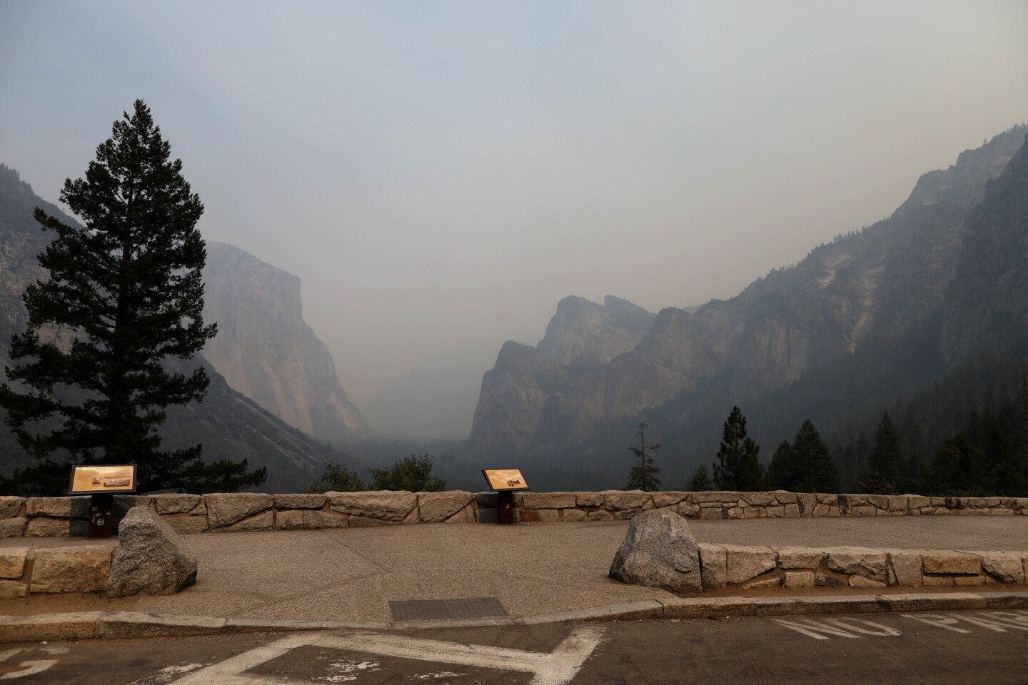 A view of the Yosemite Valley, which remains clouded in smoke from the Ferguson fire.