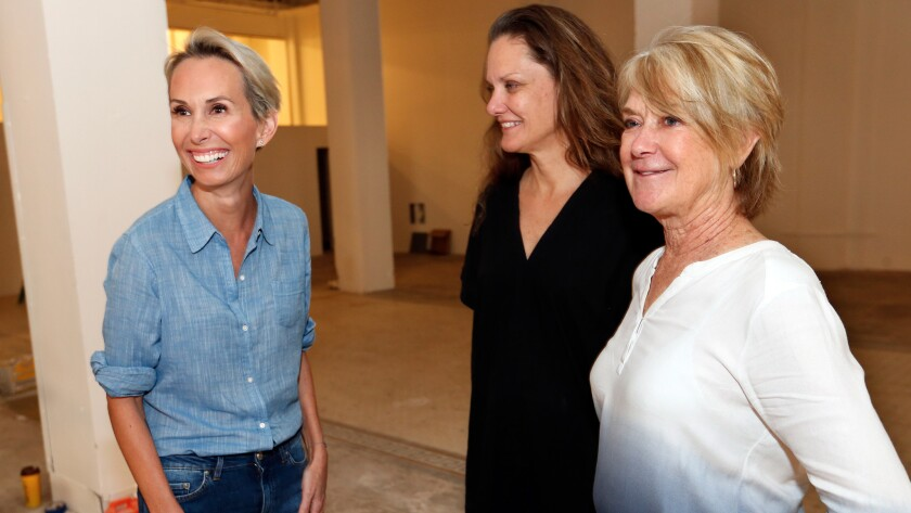 From left: Main Museum Director Allison Agstein with artists Andrea Bowers and Suzanne Lacy.