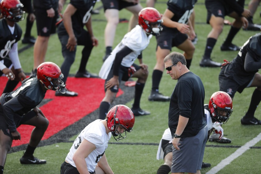 San Diego State head coach Brady Hoke walks among players as they stretch Monday afternoon before SDSU's first spring practice.