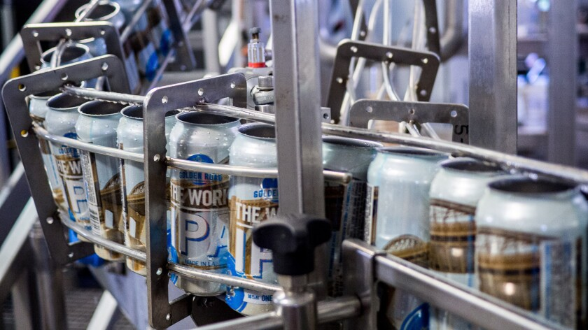 The Works IPA on the canning line at Golden Road Brewing.