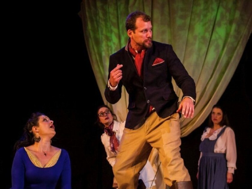 "Taliesen Rose, Rhianna Basore, Ryan Andrews and Denae Steele in Scripps Ranch Theatre's ""The Liar."" CREDIT: Daren Scott"