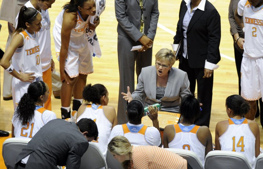 Tennessee head coach Holly Warlick, center,  gives last minute instructions during a time out in the second half of an NCAA college basketball game against Lipscomb Sunday, Dec. 29, 2013, in Knoxville, Tenn. (AP Photo/Pat Murphy-Racey)