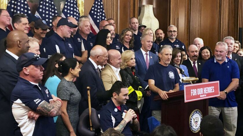 Entertainer and activist Jon Stewart, speaks at a news conference on behalf of 9/11 victims and fami