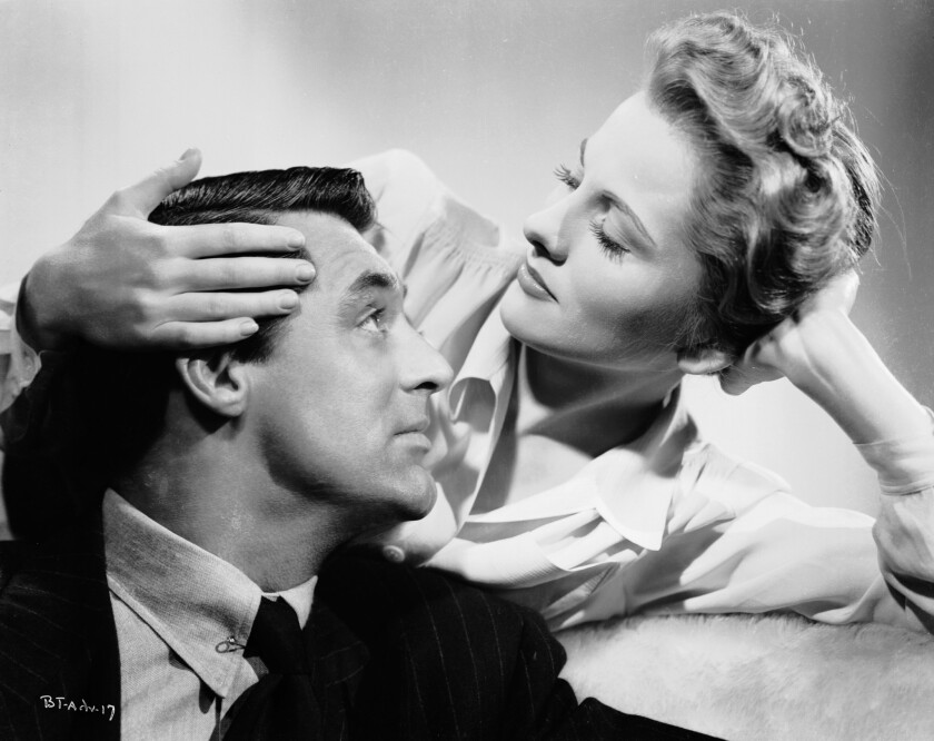 "Joan Fontaine is married to the charming but untrustworthy Cary Grant in '""Suspicion,"" directed by Alfred Hitchcock."