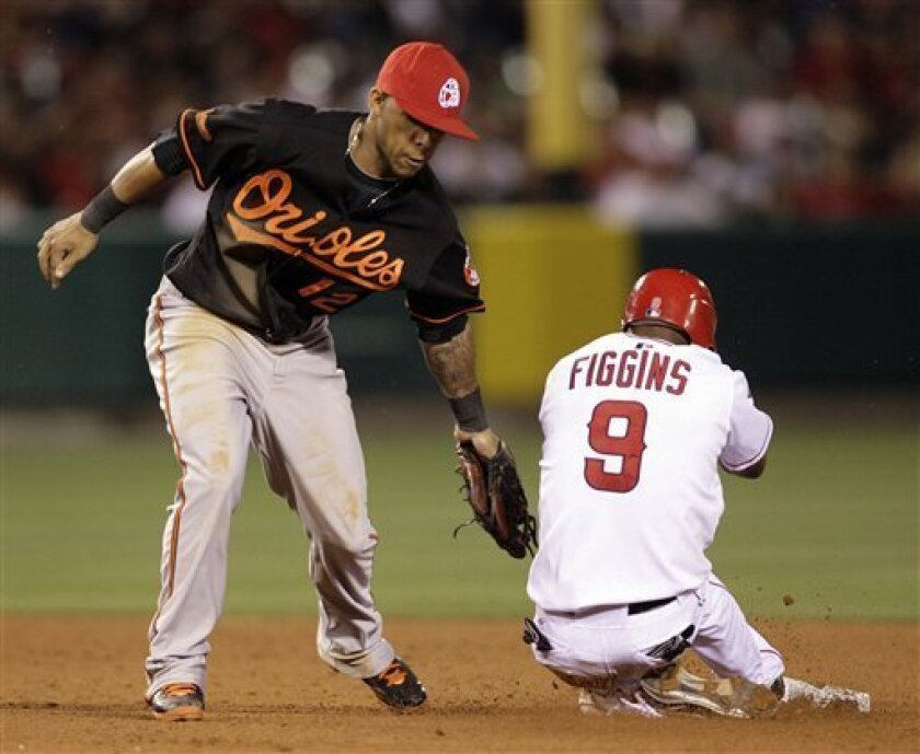 tags out Los Angeles Angels' Chone Figgins is caught stealing second by Baltimore Orioles shortstop Robert Andino, left, in the seventh inning of a baseball game in Anaheim, Calif., on Friday, July 3, 2009. (AP Photo/Francis Specker)