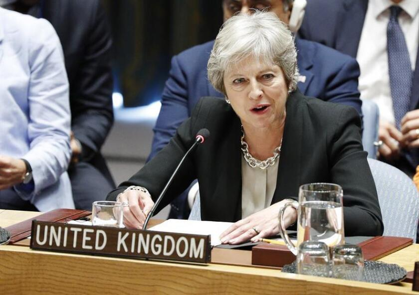 La primera ministra británica, Theresa May, durante el Consejo de Seguridad de la ONU en el marco del 73 periodo de sesiones de la Asamblea General de la ONU, en la sede de la ONU en Nueva York, Estados Unidos, hoy, 26 de septiembre de 2018. EFE