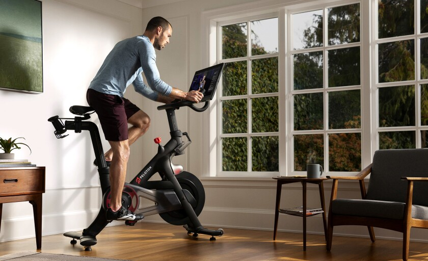 Peleton users subscribers can take a spinning class from home while watching the class leader on live or prerecorded video.