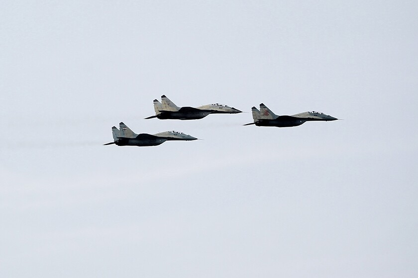 Iranian MIG-29 fighter jets are flown during the Army Day parade in Tehran in 2013.