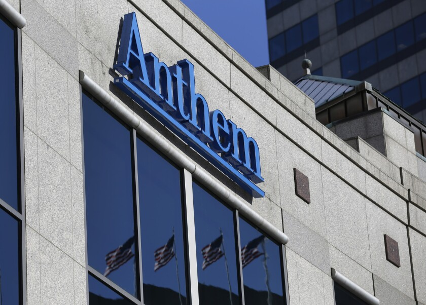 The Anthem logo hangs at the health insurer's corporate headquarters in IndianapolisonFeb. 5, 2015. The company was in the news earlier this year when hackers broke into its database storing information for about 80 million people.