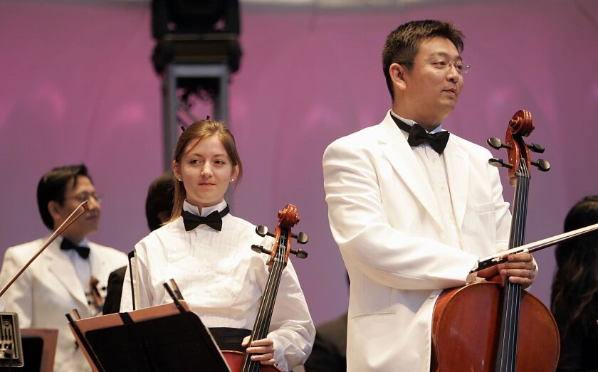 San Diego Symphony principal cellist Yao Zhao (right), in a Summer Pops concert where the orchestra shared the stage with young musicians. (At his left is student cellist Bryanna Reed.)