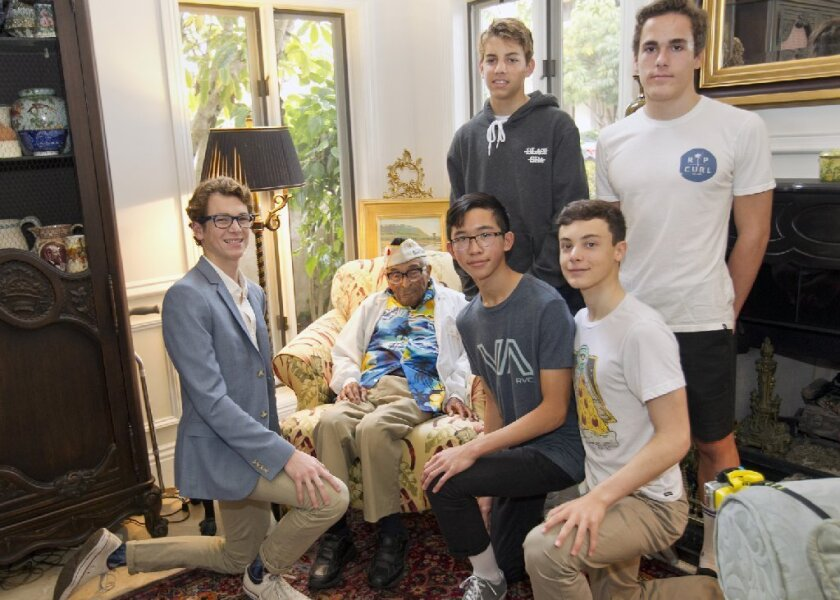 Solomon Sonenshine (seated left), veteran Ray Chavez (seated in armchair), Blake Rovsek (standing middle), Brian Seaman (standing right) Austin Pham (seated middle), Ludovico Verniani (seated right)