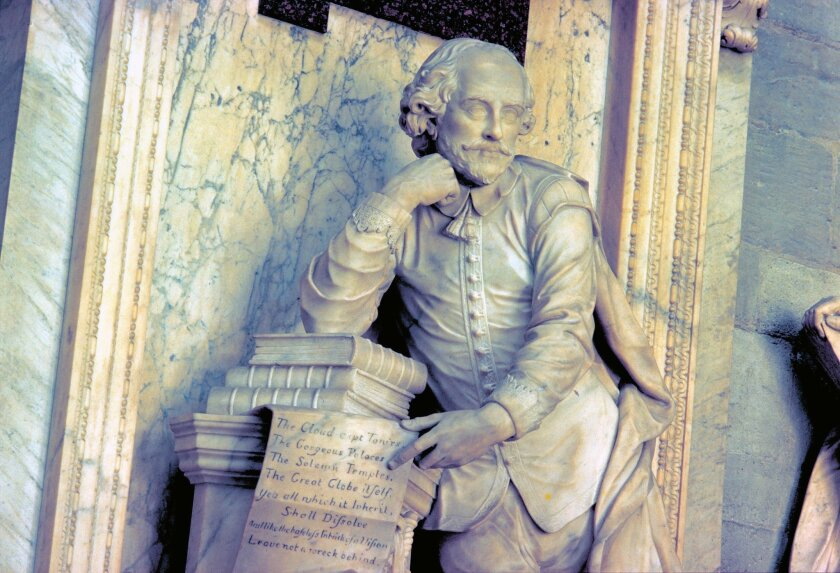 A monument to William Shakespeare in the Poets' Corner at Westminster Abbey in London.