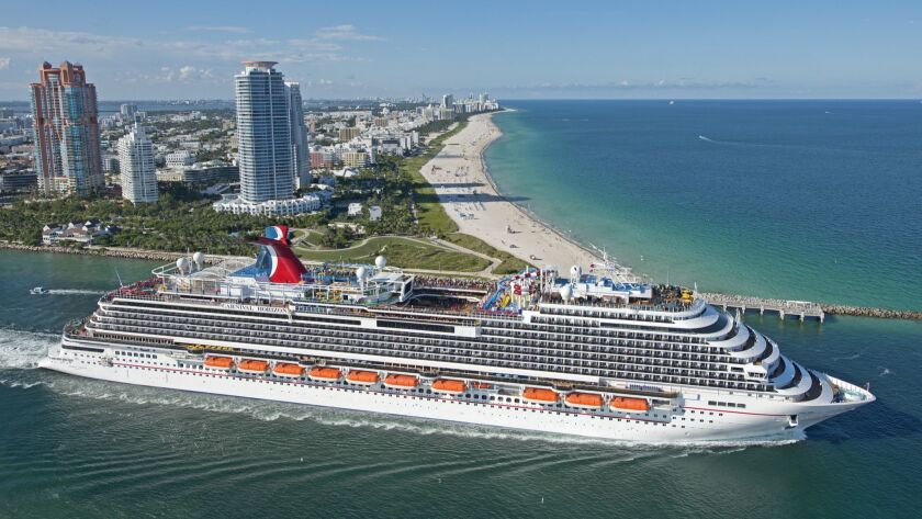 In this aerial photo provided by Carnival Cruise Line, the new Carnival Horizon, the 26th ship for M