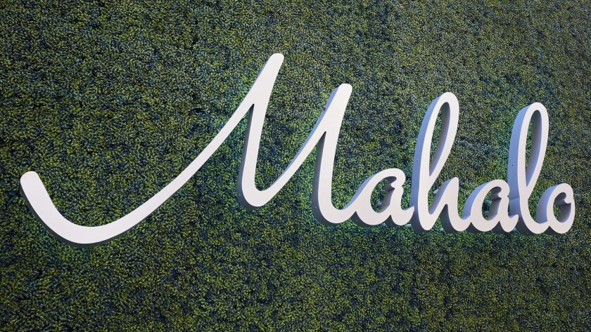 """A sign reads """"mahalo,"""" or thank you in Hawaiian, at the recently remodeled California Hotel Casino."""