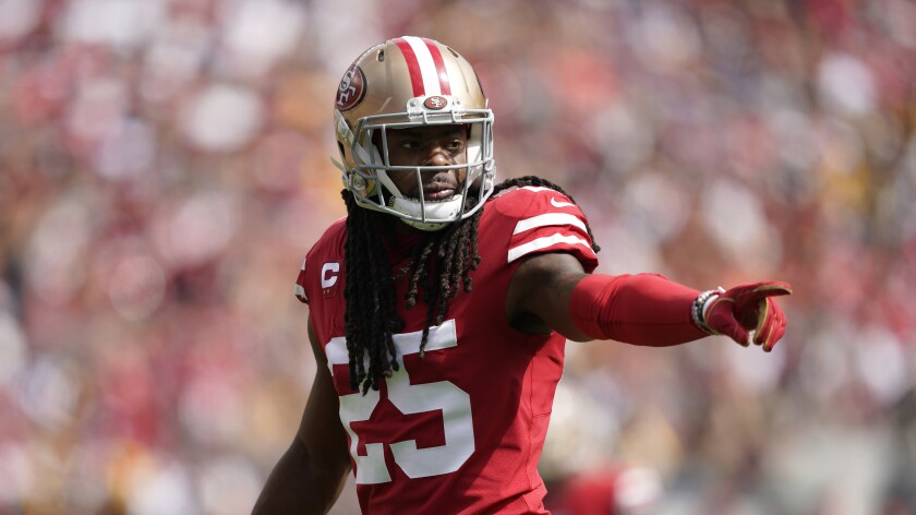 San Francisco 49ers cornerback Richard Sherman against the Pittsburgh Steelers during the first half on Sept. 22 in Santa Clara.