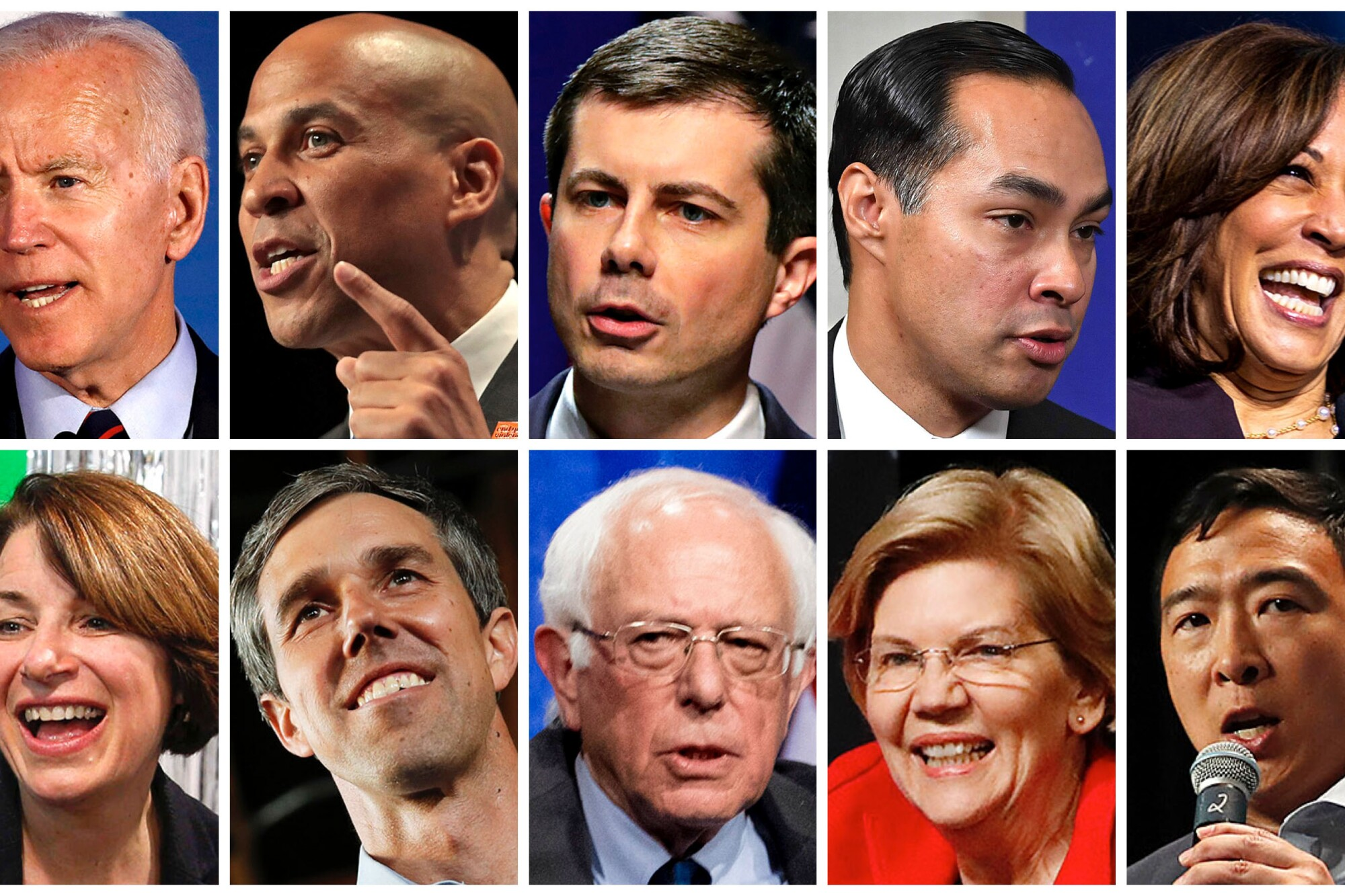 Ten contenders for the Democratic presidential nomination will appear onstage for the third primary debate. Top row, from left: former Vice President Joe Biden; New Jersey Sen. Cory Booker; South Bend, Ind., Mayor Pete Buttigieg; former Housing Secretary Julián Castro; California Sen. Kamala Harris. Bottom row, from left: Minnesota Sen. Amy Klobuchar; former Texas Rep. Beto O'Rourke; Vermont Sen. Bernie Sanders; Massachusetts Sen. Elizabeth Warren; entrepreneur Andrew Yang.