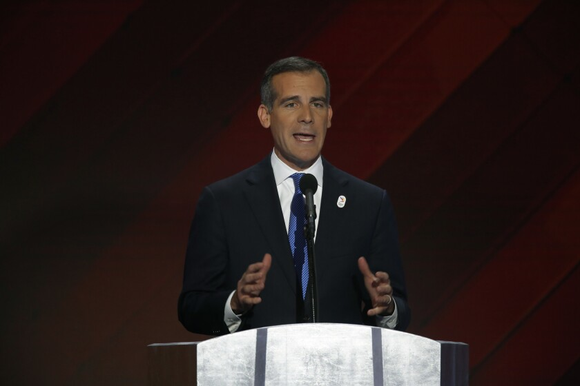 Los Angeles Mayor Eric Garcetti addresses delegates on the final night of the 2016 Democratic National Convention in Philadelphia.
