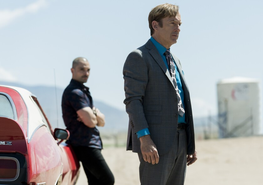 "Bob Odenkirk as Jimmy McGill, right, and Michael Mando as Nacho Varga in Season 5 of ""Better Call Saul."""