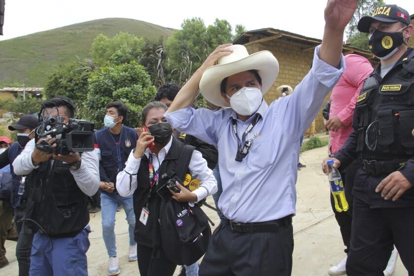 El candidato presidencial del partido Perú Libre, Pedro Castillo