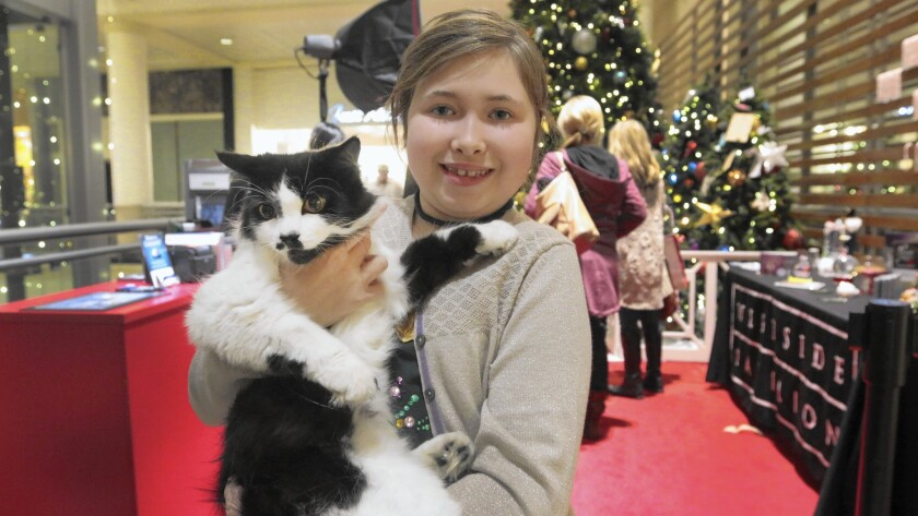 Adriana Kaplan, 10, with her cat Fluff Fluff after a photo session with Santa this month at the Westside Pavilion mall in L.A.