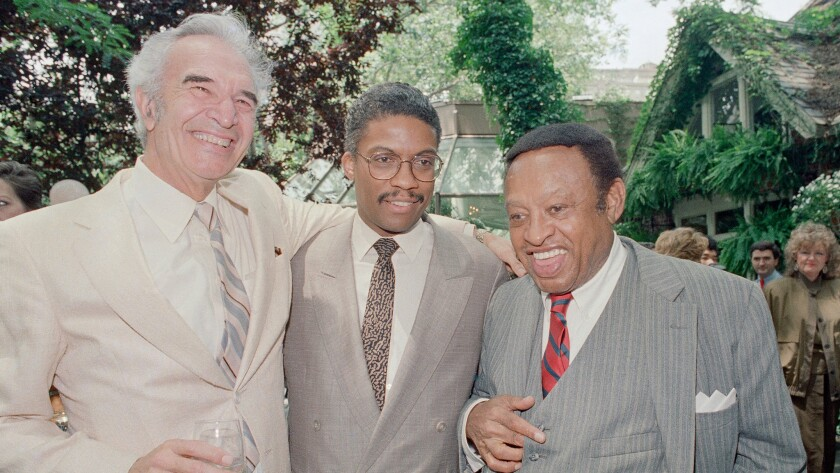 Dave Brubeck, left, Herbie Hancock and Lionel Hampton at Tavern on the Green in 1987.