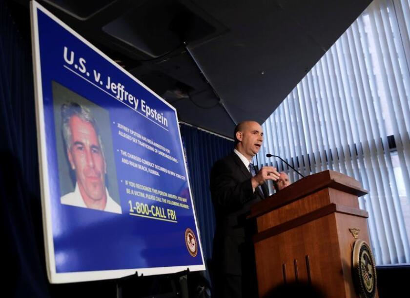 Assistant Director in Charge William F. Sweeney speaks during a news conference about the arrest of American financier Jeffrey Epstein in New York, USA. EFE/EPA/Jason Szenes/File