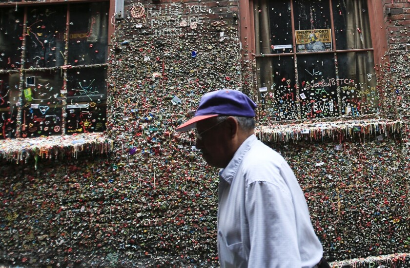 Gum-covered walls