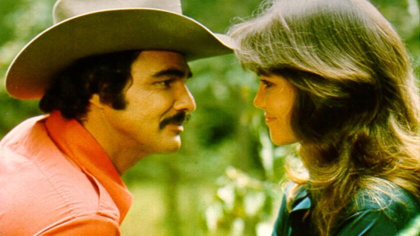 """Burt Reynolds and Sally Field costar in the 1977 comedy """"Smokey and the Bandit,"""" playing as part of a double feature at the New Beverly Cinema."""