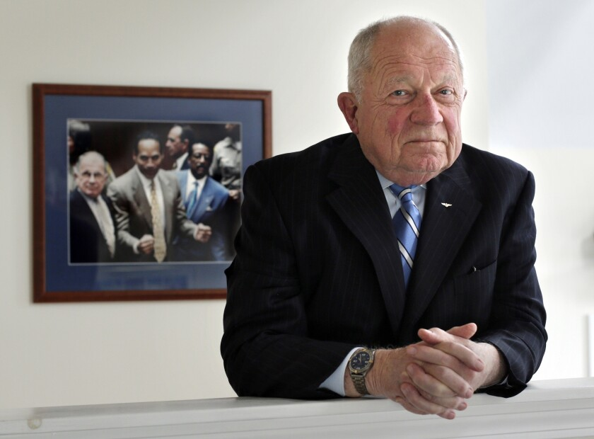 FILE - In this May 22, 2014, file photo, famed defense attorney F. Lee Bailey poses in his office in Yarmouth, Maine. Bailey, the celebrity attorney who defended O.J. Simpson, Patricia Hearst and the alleged Boston Strangler, but whose legal career halted when he was disbarred in two states, has died, a former colleague confirmed Thursday, June 3, 2021. He was 87. (AP Photo/Robert F. Bukaty, File)