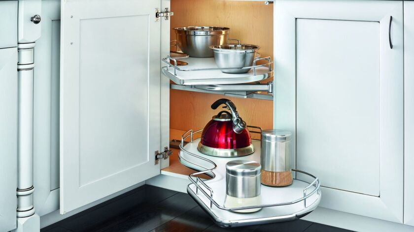 Rev-A-Shelf's Cloud Contemporary Blind Corner cabinet swing-out accessory gets you into your blind corner cabinets without knee pads or flashlight.