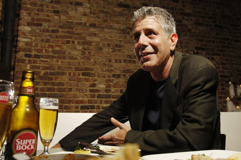 "Celebrity chef Anthony Bourdain photographed at Tintol restaurant in New York's Times Square. ""Anth"