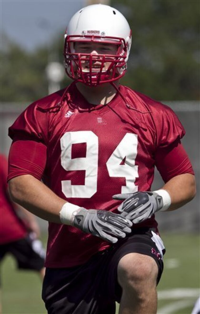 FILE - In this Aug. 24, 2010 file photo, Nebraska defensive tackle Jared Crick warms up prior to an NCAA college football team practice in Lincoln, Neb. Crick recorded 9.5 sacks playing alongside Ndamukong Suh last season. The question begs: Is Crick that good, or did the presence of Suh help Crick pad his stats?(AP Photo/Nati Harnik)