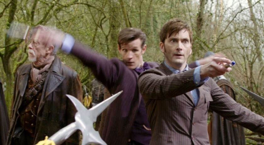 """John Hurt (left), Matt Smith and David Tennant are three faces of the Doctor in """"The Day of the Doctor,"""" marking 50 years of """"Doctor Who."""""""
