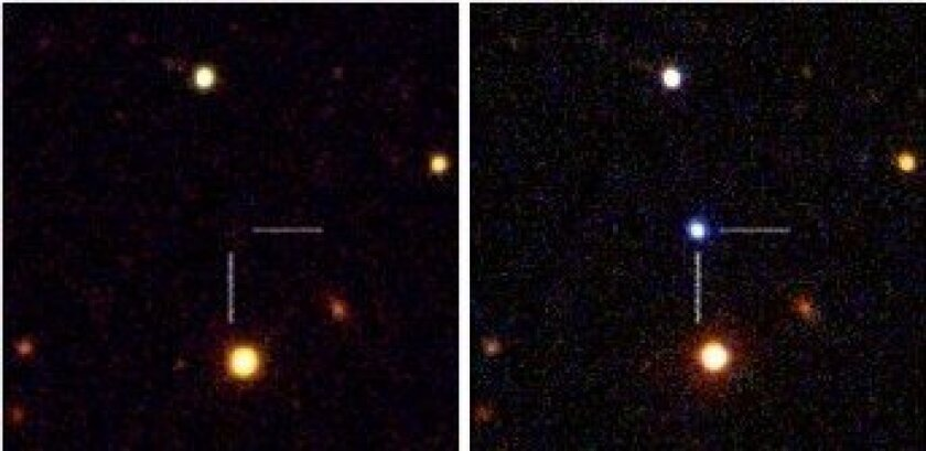 Before and after the explosion of one of the six supernovae recently discovered.