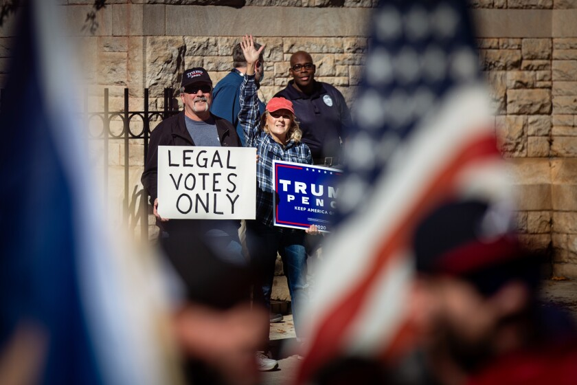 Trump supporters attend the Stop the Steal rally at the Georgia Capitol Building in November.