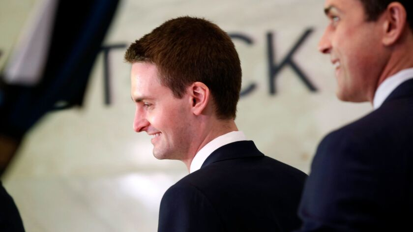 Snap Inc. Chief Executive Evan Spiegel appears at the New York Stock Exchange on Thursday.