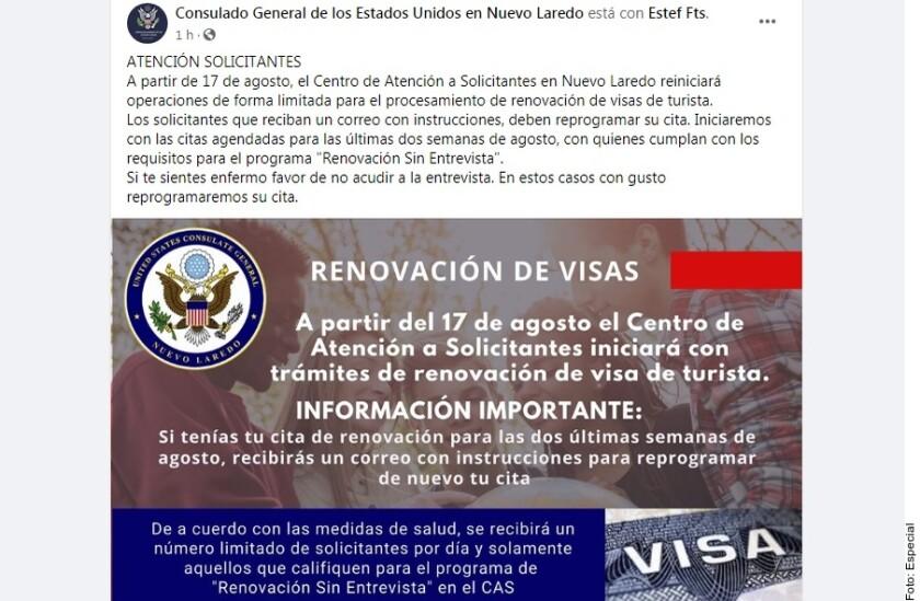 El Consulado de EU en Nuevo Laredo anunció que iniciará con las citas agendadas